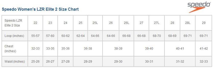 19 New Speedo Lzr Size Chart